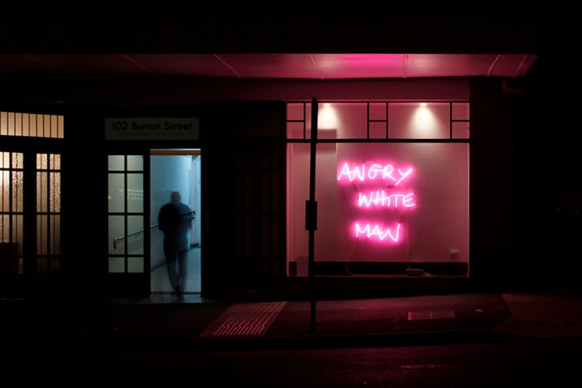 Angry White Man, rose pink neon, 2018
