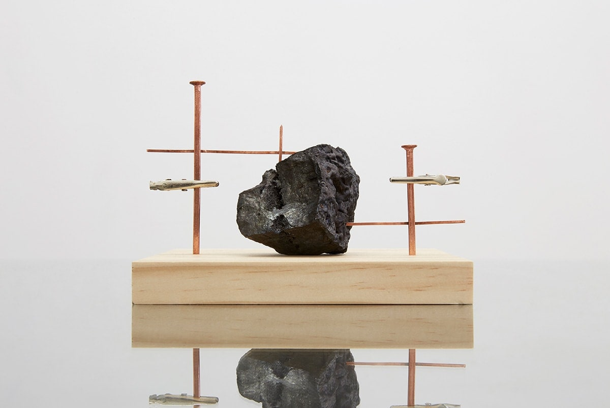 Resistor: copper, bushfire carbonised rock from the series Components, 2017, sculpture, photo: Zan Wimberley