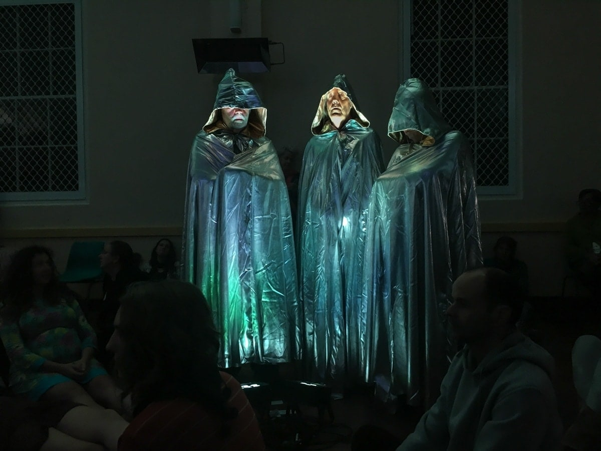 2. A Galaxy of Suns with Michaela Gleave, Amanda Cole and Warren Armstrong, 2016. 36-part choral performance, smart phone app, staging, lighting program and sound design. Photo: Roser Diaz, courtesy the artists and Anna Pappas Gallery.